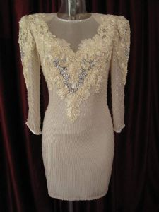 1980's Silk chiffon beaded ribbon trim vintage wedding dress